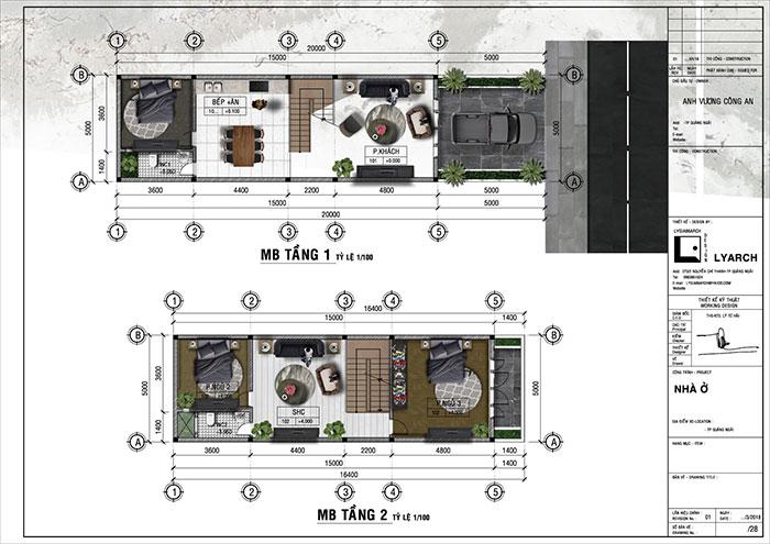 Mặt bằng công năng công trình nhà phố 3 tầng khu tái định cư