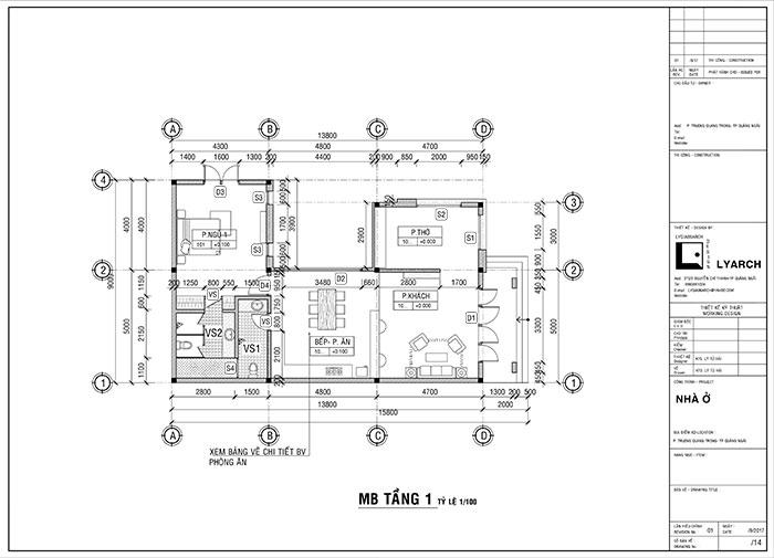 Mặt bằng tầng 1 công trình nhà ở P. Trương Quang Trọng TP. Quảng Ngãi