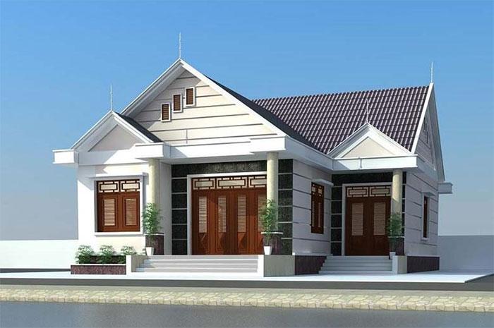 Thiết kế nhà cấp 4 hình chữ L mái Thái