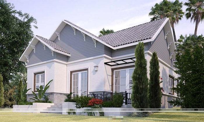 Thiết kế nhà cấp 4 mái Thái tuyệt đẹp