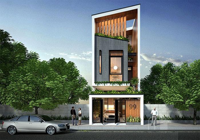 Thiết kế nhà phố hiện đại với hình khối độc đáo