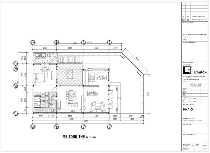 Mặt bằng tổng thể công trình nhà ở P. Trương Quang Trọng TP. Quảng Ngãi