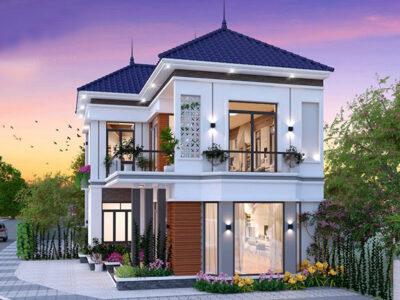 Mẫu thiết kế nhà 2 tầng chữ L 4 phòng ngủ đẹp mê mẩn
