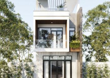 Nhà phố 2 tầng 1 tum đẹp 5x20m theo kiến trúc hiện đại tại Nghĩa Phú